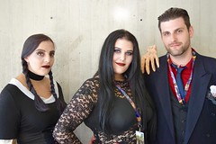 DSC_0098 (Randsom) Tags: nycc 2016 newyorkcomiccon nycomiccon javitscenter october nyc newyorkcity cosplay costume fun comicbooks comicconvention halloween portrait addamsfamily goth lace pigtails blackhair smile redlips wednesday morticia gomez trio group groupshot