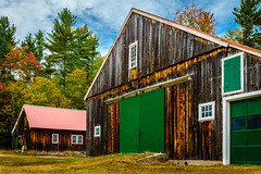 Lucy Brook barns (FotoFloridian) Tags: farm barn newhampshire whitemountains nh autumn trees red orange green rural fallcolors sony alpha a6000 nature landscape
