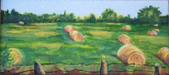 Hay bales in watercolor (candiceshenefelt) Tags: watercolor watercolour art painting field haybales hay bales