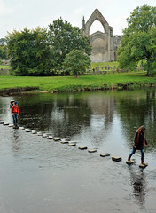 Walking on water (Majorshots) Tags: boltonpriory boltonabbey wharfedale northyorkshire yorkshire riverwharfe steppingstones
