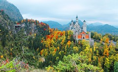 Schloss Neuschwanstein ~新天鵝堡~ (PS兔~兔兔兔~) Tags: alpine alps architecture autumn background bavaria beautiful building castle cliff europe fall foliage forest fussen hill hillside hilltop iconic isolated landmark landscape magnificent majestic medieval monument mountain mountainside mountaintop nature overcast palace panorama panoramic perched picturesque romantic royal scene scenery season sight sightseeing symbol top tour tower travel vertical view aerial amazing attraction bavarian destination european fairytale famous german germany gothic munich mystery neuschwanstein old ludwig light history holiday king knight leaves