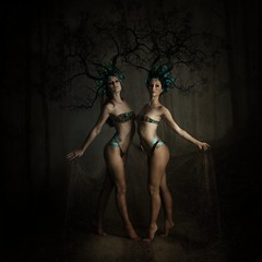 ('_ellen_') Tags: women friends two dancing elegant forest twins trees branches headpiece fashion mardi gras nymphs