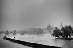 IMGP2033-Edit-1 (Jan Eric Elger) Tags: fog prague praha prag pentax trix kodaktrix bw baw bnw blackandwhite blackwhite atumn winter cold freezing cityscape landscape river
