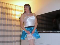 Stocking lady (Paula Satijn) Tags: sexy hot girl gurl tgirl skirt miniskirt blue satin silk silky shiny stockings white stockingtops lace smile happy girly transvestite