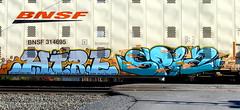 hire - spia (timetomakethepasta) Tags: hire spia ufs freight train graffiti art autorack bnsf hune beker mexico sukre pelos yelo road karol okwer royer rail bombs