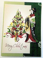 Christmas card 6_2016 (tengds) Tags: christmascard card handmadecard japaneselady kimono green maroon lightyellow fish papercraft tengds christmastree flowers