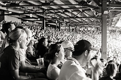 Boston Red Sox v. New York Yankees - Fenway Park - August 21, 2006 (day game) (deanmackayphoto) Tags: bostonredsox newyorkyankees fenwaypark august212006 field ballpark stadium 35mm film filmisnotdead contax bw blackandwhite crowd fans 23