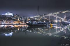 Ponte D. Lus I Porto (luis augusto santos) Tags: bridge d lus porto oporto night reflections boats