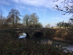 This mornings misty bike ride (AngharadW) Tags: outdoor cymru wales vale river ely field sunshine sky blue vapour trails tree trees mist bridge stonework grey silhouette roadsign undergrowth