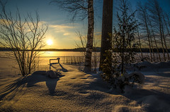 Winter afternoon (ArtDvU) Tags: winter lake lakescape landscape snow sun sunny afternoon evening finland pier tree clear sky nikon d7000