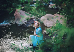Enchanting Fable II (Kelly McCarthy Photography) Tags: woman model beautiful beauty fashion style blonde dress blue bluedress floralcrown floral flowers lake river outdoors fairytale fantasy bokeh bokehwhores