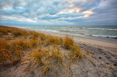 Windy Day on Lake Michigan (mswan777) Tags: beach sunset seascape dunes grass sand great lakes lake michigan evening autumn fall cloud sky waves water shore nikon d5100 sigma 1020mm expanse color wind weather