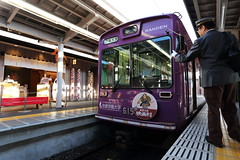 Local tram (Teruhide Tomori) Tags:        tram train railroad railway kyoto arashiyama japon japan randen keifuku vehicle station
