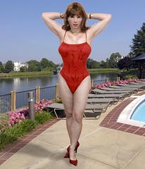Kathy Leigh red swim suit (Kathy_Leigh) Tags: highheels cd s crossdressing tgirl tranny transvestite swimsuit crossdresser bathingsuit gurl masking tg redheels crinoline tgurl femalemasking femalemask kathyleigh