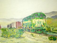 Arizona and California drawing (Freightcarkid) Tags: coloredpencil colouredpencil railroadart railwayart arizonaandcalifornia