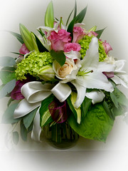 "#28ED $100 Vase of Roses, Lilies, and green Hydrangea. • <a style=""font-size:0.8em;"" href=""http://www.flickr.com/photos/39372067@N08/9302679503/"" target=""_blank"">View on Flickr</a>"