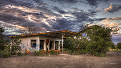 Fading Whiting Bros. Gas Station on Route 66 Near McCartys, New Mexico in HDR (eoscatchlight) Tags: abandoned clouds route66 decay gasstation roadsideamerica hdr decayed servicestation fallingdown fillingstation fadingamerica whitingbros