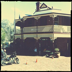 Mundaring Weir Hotel (Chris Muscroft) Tags: old building bike square pub victory motorbike squareformat motorcycle biker aussie custom vtwin cruiser iphone victorymotorcycle iphone4 makebeautiful iphoneography hipstamatic tipn instagramapp uploaded:by=instagram blankonoirfilm hipstachallenge abbielens