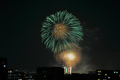 DSC_2319 (tanny ) Tags: city blue light red summer orange black green beautiful japan night dark lens tokyo bay nikon colorful zoom fireworks august fancy saitama hanabi itabashi toda d7000 afsdxnikkor18300mmf3556gedvr