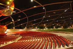 Arc (Flint Foto Factory) Tags: park city autumn red urban chicago fall geometric metal night evening illinois jay nocturnal chairs geometry arc band shell visit millennium september moms seats pavilion thursday pritzker 2013