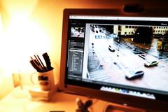 Surreal Setup (mikkowaeder) Tags: home lamp computer mac display macmini setup speakers lightroom tiltshift