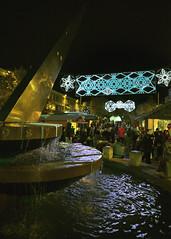 Sun dial / fountain (Peter Trott) Tags: city november sun fountain night centre plymouth dial christmaslights devon