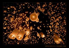 10,000 Wishes (Greg - AdventuresofaGoodMan.com) Tags: orange festival thailand buddhism lanterns chiangmai loykrathong loikrathong floatinglanterns yiping maejo skylanterns komloy lanternrelease