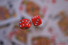 The photographer's game... (Tony Dias 7) Tags: red dice game macro cards floating