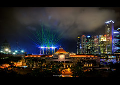 Burst Of Lights~ (moon Symphony) Tags: night singapore lasershow parliamenthouse centralbusinessdistrict singaporeriver d600 wonderlust marinabaysands