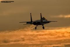 F15C Eagle at sunset RAF Lakenheath (Nigel Blake, 12 MILLION...Yay! Many thanks!) Tags: sunset sky orange yellow flying haze fighter glow eagle dusk military flight jet heat usaf nigel raf lakenheath grimreapers f15c usafe nigelblake nigelblakephotography