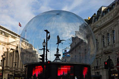 Life in a Bubble (The_Kevster) Tags: christmas leica decorations light sky people london westminster statue clouds buildings reflections advertising neon afternoon shadows piccadilly rangefinder landmark tourists piccadillycircus eros bubble trocadero londonpavilion summicron50mm leicam9
