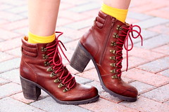 Tartan (Thedrawingmannequin) Tags: winter red orange white cold up leather fashion yellow socks boots hiking lace tie bowtie gloves bow heel hiker plaid booties hee tartan redgloves bowgloves