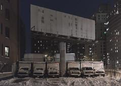 Trucks (Guillermo Murcia) Tags: newyorkcity winter urban white snow newyork cars weather night outdoors manhattan vehicle dim severe snowwintercold guillermomurcia
