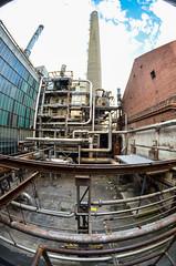 (blakbox) Tags: abandoned graffiti construction factory pipes fisheye urbex