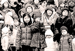 People Celebrating the Chinese New Year Parade (kirstiecat) Tags: blackandwhite chicago monochrome kids chinatown strangers parade adults happychinesenewyear beautifulstrangers vision:people=099 vision:face=099 vision:groupshot=099 vision:outdoor=0926