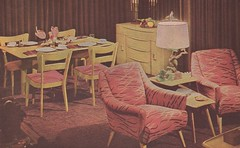New Creative Home Decorating 1946 4 (tikitacky) Tags: pink coral modern living chairs interior frieze driftwood dining decor taupe midcentury heywoodwakefield blondewood