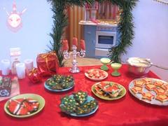 Santa's Buffet II (Kate's Creations) Tags: christmas food holiday cookies cake holidays doll santas egg part roll 16 buffet nog