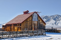 Carson River Valley Barn (stephencurtin) Tags: wood roof winter red brown snow mountains color metal barn fence river carson rustic sierra photograph valley unanimous thechallengefactory
