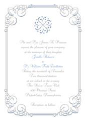 Winter White Wedding Invitation (maddieandmarry) Tags: blue winter wedding white silver snowflakes frozen border gray formal powder invitation swirl icy ornate simple scroll edwardian
