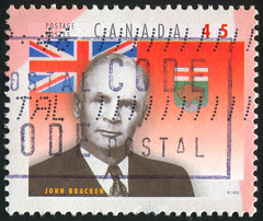 Canada 0497 m (roook76) Tags: old portrait people canada man male face sign vintage hair person ancient message adult mail symbol serious head antique flag postcard historic retro manitoba stamp human seal envelope letter leader 1998 bracken aged postage provincial postmark philately