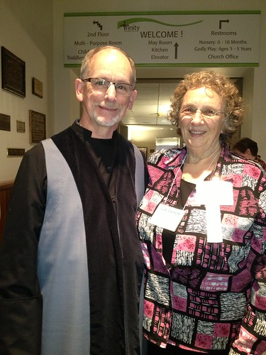 <p>Judy Clements (right) created the Verviers vestments for the Trinity, Covington vergers, as worn by Jim Swearingen (left)</p>