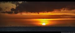 Pano Sunset Amsterdam seen from Flevoland (raymondklaassen) Tags: sunset zonsondergang flevoland