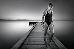 Iron Woman Alyce Bennett (carly_webber) Tags: ocean lighting portrait woman lake sport composite swim photoshop sunrise studio pier blackwhite jetty goggles swimmer athlete togs ironwoman sportswoman alycebennett carlywebber