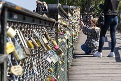 "Love locks on the bridge ""Pont des Arts"" (Paris)"