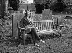 Sarah (Mister Oy) Tags: portrait blackandwhite bw 120 film monochrome graveyard sarah mediumformat mono cotswolds cirencester davegreen ilfordfp4 fujigs645s oyphotos