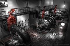 Pump House. (rudi.verschoren) Tags: black white red art nouveau used old drydocks pumps eos ngc europe house water light antwerp belgium habour power canon 70d