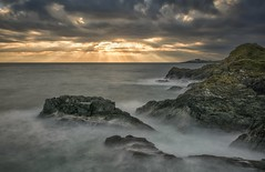 Rocks and Rays (Captain Nikon) Tags: mevagissey cornwall southwest chapelpoint crepuscularrays longexposure rocks stormy moody mood nikond7100 sigma1835mm harbour