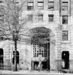 Marine Building (Andrew Luyt) Tags: overexposed 6x6 vancouver blackandwhite bw efkeir820 film infrared ir marinebuilding mediumformat minoltaautocordcds squareformat tlr twinlensreflex