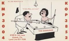 The Dunnings - Hialeah, Florida (73sand88s by Cardboard America) Tags: qsl cbradio cb billiards games florida vintage