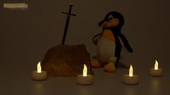 """36 """"...will be king."""" - """"... wird Knig sein."""" (jensfechter) Tags: elements pinguin penguin king knig schwert sword stein stone light licht dunkel dark zeit time candel kerzen enter"""